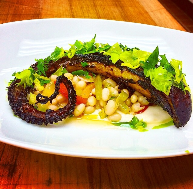 Grilled Octopus with Peppers, Coco Beans, And Thyme From The Gander