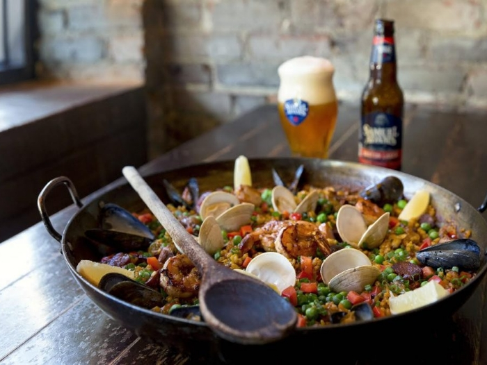 Paella with Boston Lager from Ken Oringer
